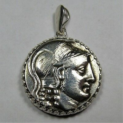 Authentic Ancient Greek Silver Coin Tetradrachm Sterling Silver Pendant #255
