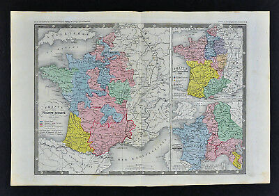 Ansart Map - Era of Phillippe-Auguste - Charlemagne - Crusades - France 845-1225