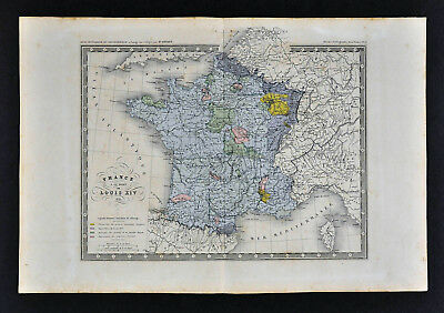c 1860 Ansart Map - France 1715 Death of Louis XIV - Paris Orleans Bourbon Laon