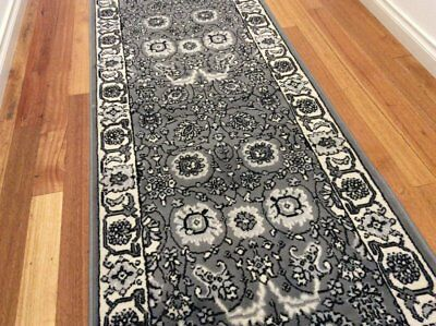 Dalia Grey Ivory Traditional Hallway Runner Hall Runner Rug 8 Metres Long