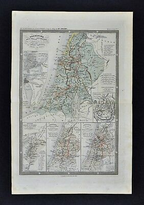 1860 Ansart Map Ancient Palestine Canaan Israel Jerusalem Holy Land Jesus Christ