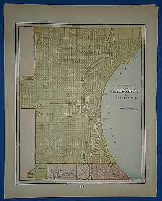 Vintage 1892 MILWKAUKEE MAP  Old Antique Original Atlas Map 121518