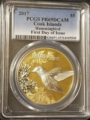 2017 Cook Islands Shades of Nature Hummingbird PCGS PR69DCAM First Day of Issue