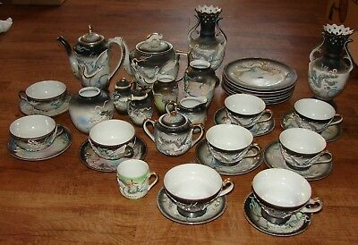 Moriage Dragonware 36 Pieces Teapot Coffeepot Vases Cups Saucers Plates + More