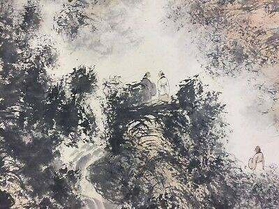 Rare old Collectible Pure Handwork Fu Baoshi Landscape Figure painting Scrolls