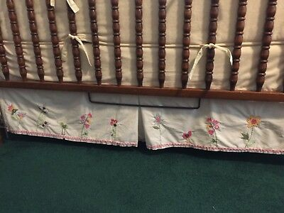 Pottery Barn Crib Dust Ruffle Embroidered Flowers With Rick Rack