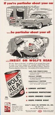 1956 Wolf's Head Motor Oil Refining Co Oil City PA Vintage Shop Garage Decor Ad
