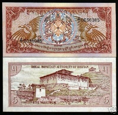 Bhutan 5 Ngultrum P14 A 1985 Replacement Bird Dzong Unc Rare Currency Money Note