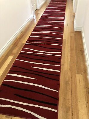 Deanna Red Rock Modern Hallway Runner Hall Runner Rug Red Black 3 Metres Long
