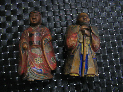 couple dignitaire chinois bois polychrome