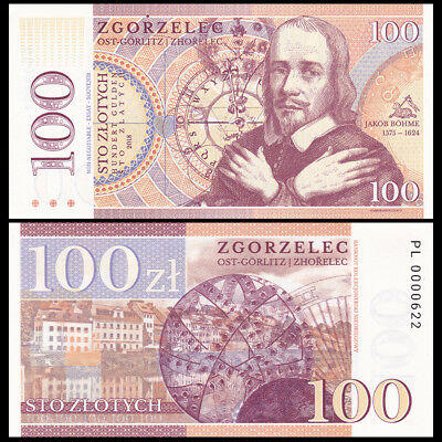 Poland, 100 Zlotych, Private Issue, Specimen, Essay, 2018, Jakob Bohme, UNC