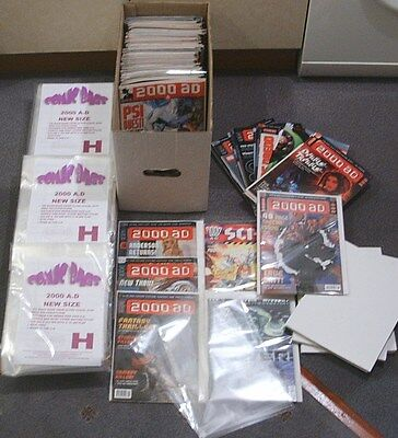 SIZE H. 100 x ULTRA CLEAR RESEALABLE POLYPROPYLENE COMIC BAGS - NEW SIZE 2000AD