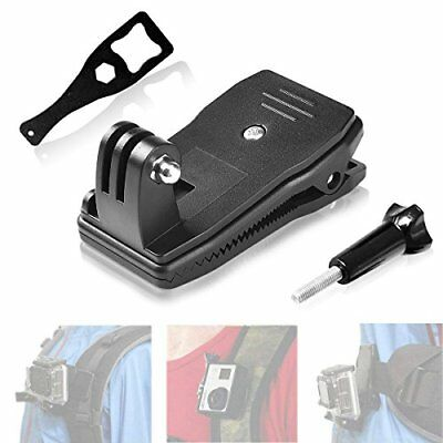 Gopro Hero 7 6 5 Clamp Mount 360 Degree Rotary Clip Backpack Hat Belt Strap Fast
