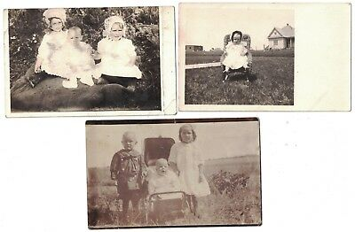 5 Antique C:1910 Rppc Real Photo All Children Posing Outdoors