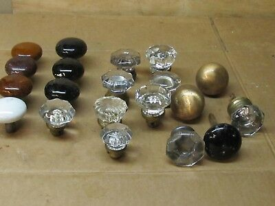 Lot of 20 Vintage Black White Bennington Glass  Metal  Door Knobs