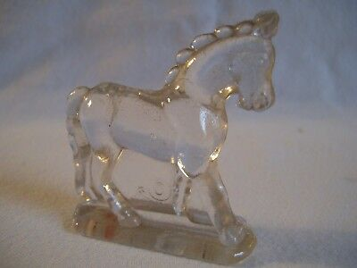 "Vintage Miniature Clear Glass Horse w/ Crown Figurine 2 1/4"" marked ""C"""