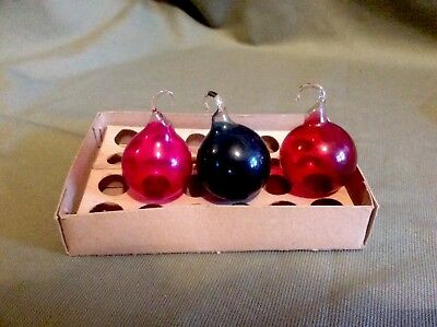 Small Antique Hand Blown Victorian Coloured Glass Baubles. Rare.Victorian