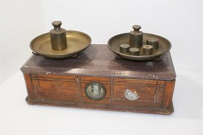 Antique Henry Troemner Apothecary Balance Scale Wood, Marble & Brass w/ Weights