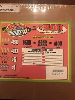 """""""Rock My World""""  5 Window Pull Tab -1800 Tickets Payout  $675"""