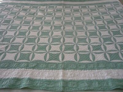 ANTIQUE PICKLE DISH PATTERN HANDMADE QUILT 94x64
