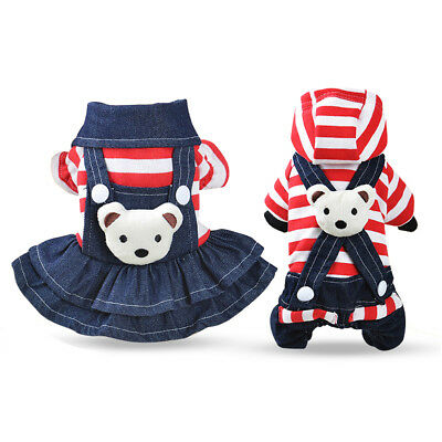 Striped Jean Dog Clothes Winter Small Pet Jumpsuit Overalls Dress Apparel Warm
