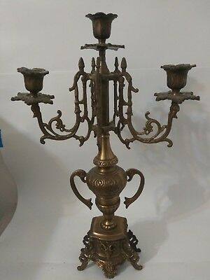 Antique Brass Candelabra 3 Harm Large Candlestk
