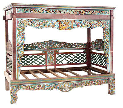 Antique Indonesian Madura Daybed  Hand Carved Solid Teak Wood 97''L x 82''H