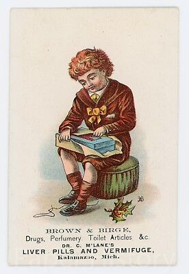 c.1890 Quack Medicine Drugs Dr C M'Lane's Liver Pills Trade Card Kalamazoo MI