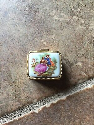 Victorian Couple Metal Pill Trinket Box