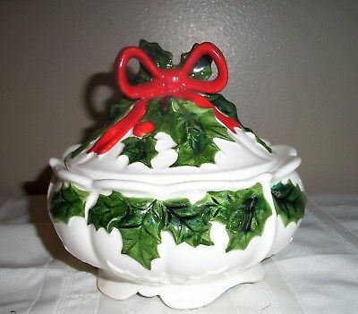 Vintage Lefton White Christmas Ceramic Holly Berry Covered Candy Dish Bowl