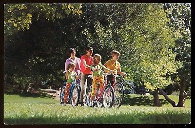 Vintage 1968 Mid-Century Family on Middle Weight Bikes Bicycles Postcard