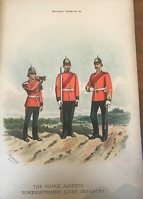 Somersetshire Light Infantry 13th 1891 14 x9 inch Colour Print & Regimental Info