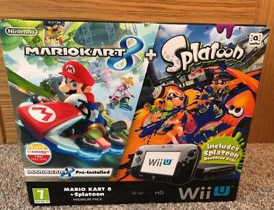 Nintendo Wii U 32gb Black Mario Kart 8 and & Splatoon Premium Pack console New