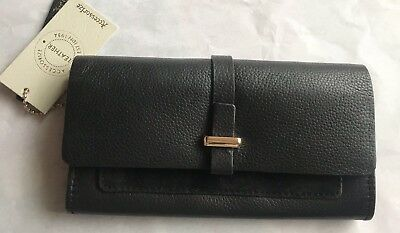Accessorize Black Leather & Suede Flap Front Purse BNWT