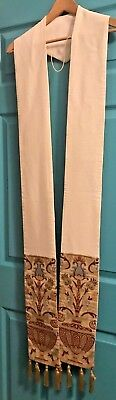 Beautiful Catholic Priests Ivory Gold & Red Coronation Tapestry Stole