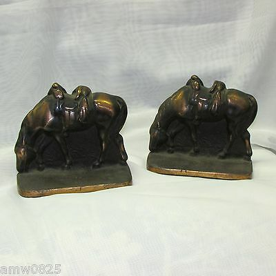 ANTIQUE CAST IRON HORSE BOOKENDS COPPER FINISH HEAVY METAL PAIR VINTAGE book end
