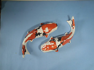 Ceramic koi carps pair hand painted for collection & pond decor never pre owned