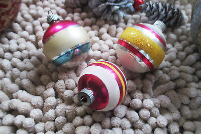 Vintage Shiny Brite Mercury Glass Ornaments Flocked Silver Stripes Lot Of 3 USA