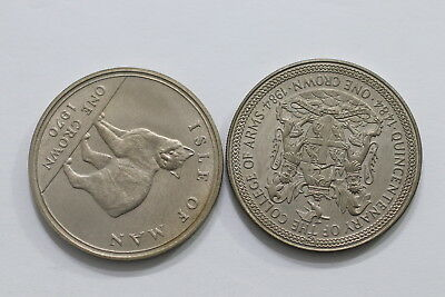 Isle Of Man - 2 Crowns Lot Manx Cat + College Of Arms A99 Sfff14