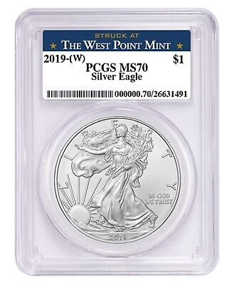 2019 1oz Silver Eagle PCGS MS70 West Point Label