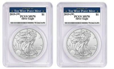 2019 1oz Silver Eagle PCGS MS70 West Point Label 2 Pack