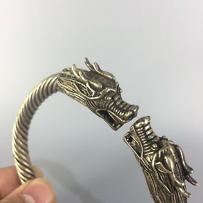 Chinese Old Antique Tibet Silver Collectible Handwork God Dragon Amulet Bracelet