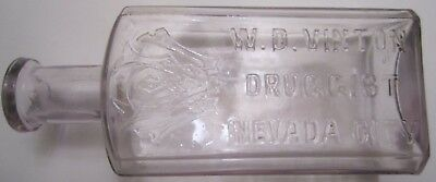 ANTIQUE BOTTLE from W. D. VINTON Druggist Nevada City, California 5 inches tall
