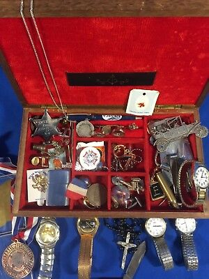 Vintage Mens Junk Drawer Lot Watches Jewelry Keychains And More