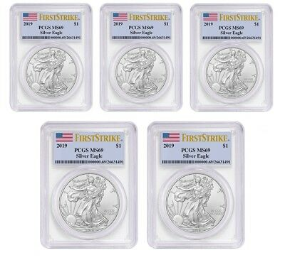 2019 1oz Silver Eagle PCGS MS69 First Strike Label - 5 Pack