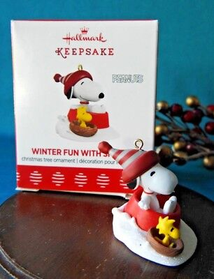 Hallmark  Miniature Ornament 2017 Winter Fun with Snoopy Snow Sled w Woodstock