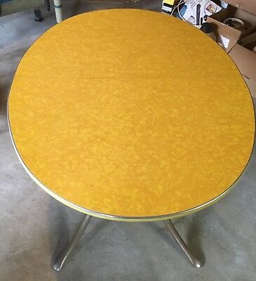 Vintage Circular Formica Dining Table - Yellow
