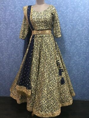 BRAND NEW navy blue lengha choli with gold sequin