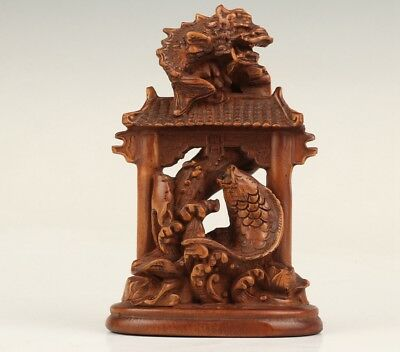 Vintage Chinese Boxwood Statue Decorate Old Hand-Carved Fish Mascot Gift