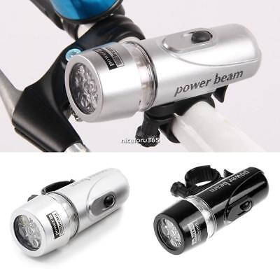 Battery 5 LED Highlight Bicycle Front Lamp Set Mountain Bike Light Clip New